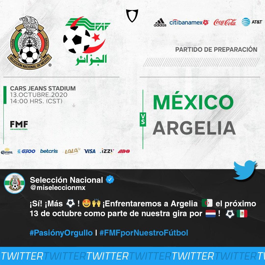 ¡CONFIRMADO!  A través de redes sociales, el 'Tricolor' anunció que se enfrentará a Argelia en un amistoso como parte de la gira por Holanda, ¡será un gran duelo contra el campeón de África! 🤩🇲🇽⚽️🇩🇿  #SeleccionMexicana #Mexico #Argelia #Amistoso #SoyFanbolero https://t.co/ABW27VZCow
