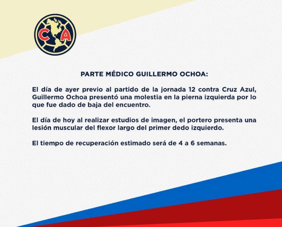 """""""Guillermo Ochoa"""": Por el comunicado del @ClubAmerica. https://t.co/lViE1zBfwS"""