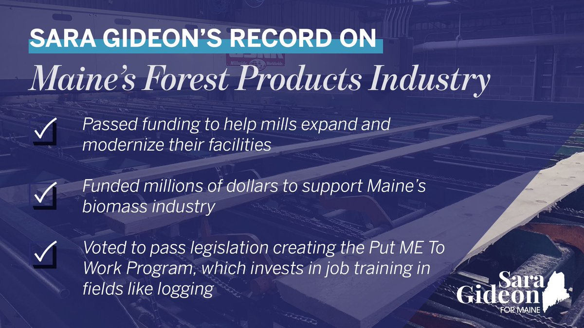 The forest products industry is a major economic driver that supports thousands of jobs across Maine. I'm proud of the work I've done to support this industry and fight for its workers. #mepolitics https://t.co/et7rO5d9My