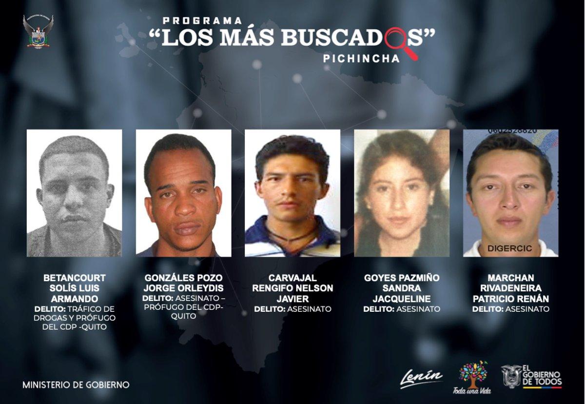 #CeroImpunidad | Ayúdanos a capturarlos. Estos son los más buscados en #Pichincha por diferentes delitos. Si conoces su paradero comunícate al 1800 DELITO. Habrá recompensa por información que ayude a ubicarlos. https://t.co/WQfbGjj1vH