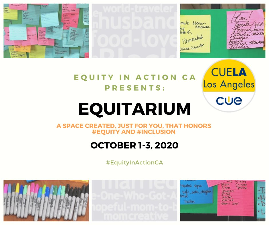 It's ALMOST TIME for #Equitarium2020. @EquityActionCA has created a space just for you that honors #equity and #inclusion.   👥 Bring a friend and join the conversation.   REGISTER AT: https://t.co/VYIcEGg45N https://t.co/Ka1wW42Vhz