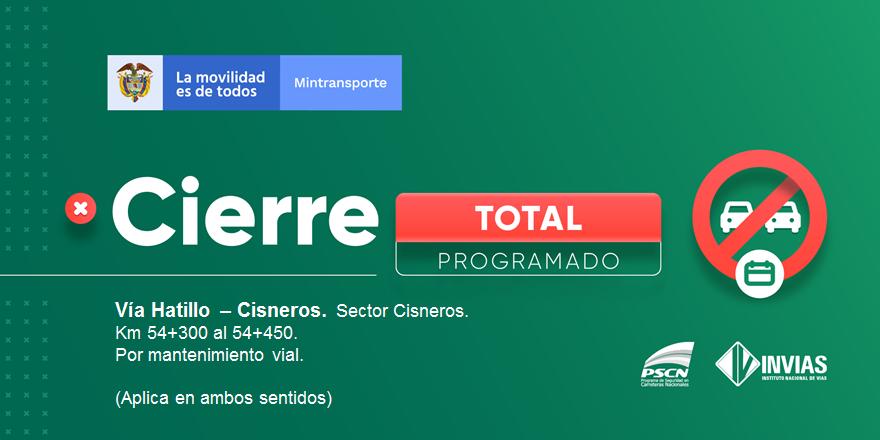 ¡Buenas tardes!   #NovedadVial Departamento de #Antioquia en el sector Cisneros se presenta cierre programado.   A partir del 21 de septiembre de 2020 a las 04:00 am, hasta el 01 de octubre de 2020 a las 06:00 pm.  #EnDesarrollo   Trabajamos para mantenerte informado. https://t.co/9JVyAhHHpO