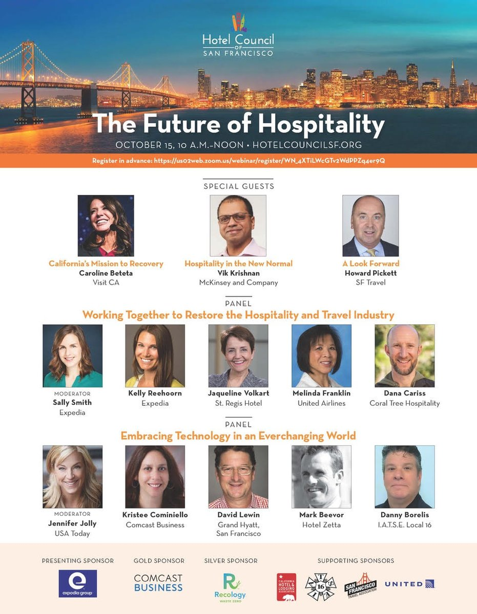 """October 15 / 10am PST: Hotel Council of San Francisco presents """"The Future of Hospitality"""" w/ industry leaders across the spectrum. Sponsors @Expedia @comcastbusiness @RecologySF @CALodging @IATSE local 16 @united @onlyinsf . Register at link below."""