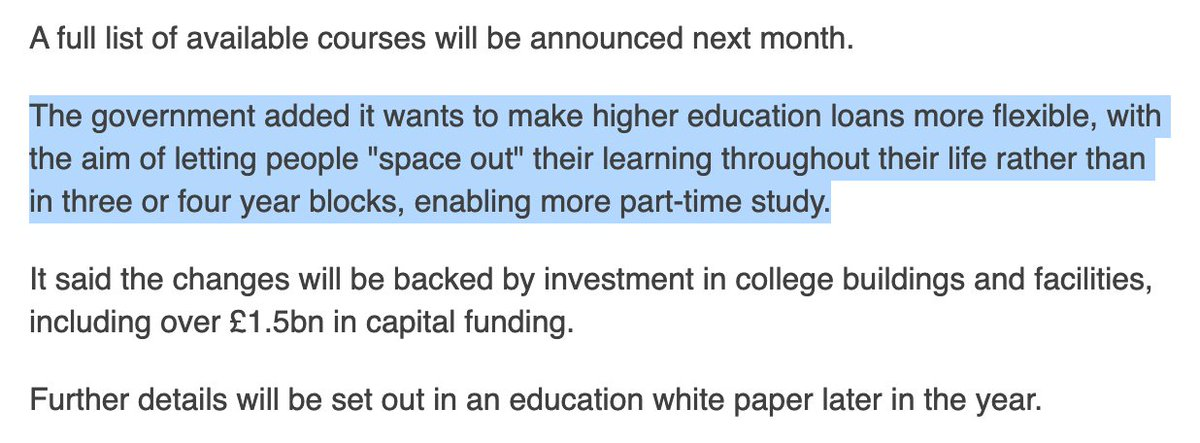 Moreover, it's not easy for adult learners to build up individual educational credits into full-level qualifications over time. So allowing them to accumulate credits and/or finance their study on a modular basis (which the below hints at, for HE at least) is welcome news. 8/9 https://t.co/9Y4lnf0J5Y
