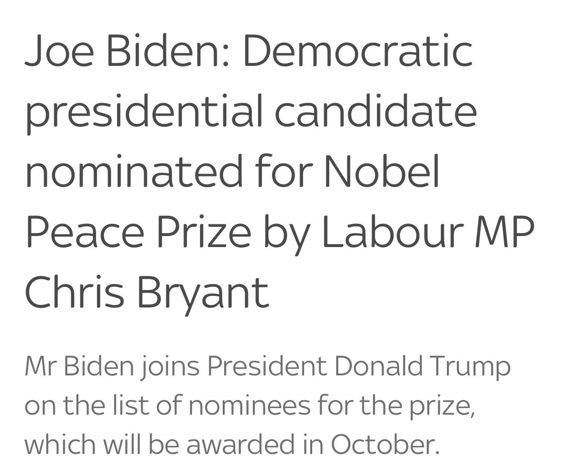 "Democrats must have gotten nervous about @realDonaldTrump's THREE Nobel Peace Prize nominations because someone convinced a leftist MP in the UK to nominate Joe Biden for a peace prize because... of his ""dedication to argument"". Guess they couldn't find a real accomplishment? 😂 https://t.co/l3M5yEN3n4"