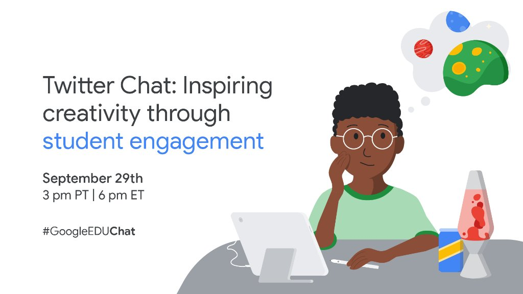 Grab your thinking caps and join us for a #GoogleEduChat tomorrow about cultivating engaging learning experiences with creativity. Educators in all subject areas are encouraged to participate! https://t.co/52RGK40cXq
