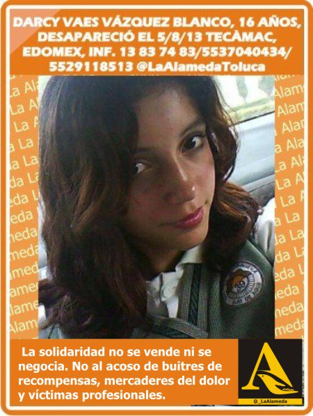 #Tebuscamos Darcy Vaes Vázquez Blanco, 16 años, 5/8/13 #Tecámac #Edomex #Toluca #Coacalco #911 https://t.co/tSMuLNWd5d
