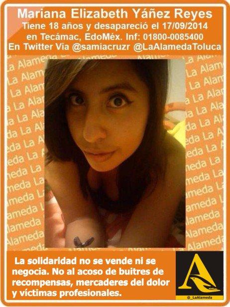 #Tebuscamos Mariana Elizabeth Yáñez Reyes, 18 años, 1779/14 #Tecámac #Edomex #Toluca #911 https://t.co/2a6miaAdDg