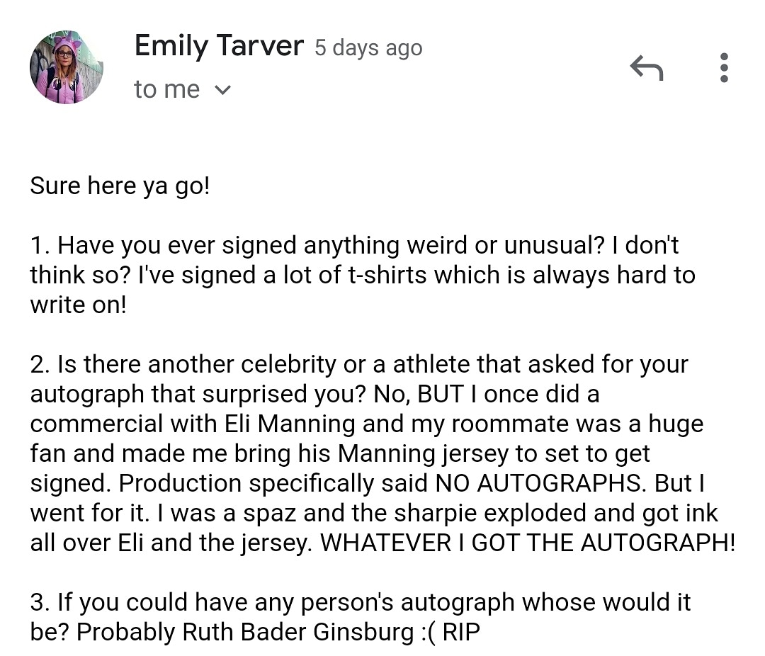 A big thank you to @emilytarver who plays Artesian McCullough In Orange Is The New Black for taking to time to answer my questions about her #autograph experiences #ttm #ttmauto #ttmautograph #ttmsuccess #oitnb #netflix #netflixoriginal #tv #tvshows #email #tvseries #guards #wow https://t.co/zpiw3tWygV