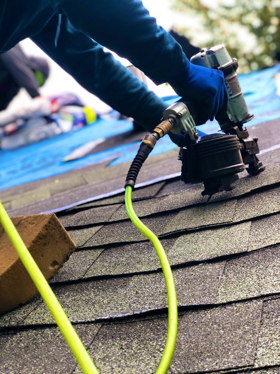 What a feeling, the day is long filled with focus and tough #work, but the impact of a new #roof lasts for decades.  This impact of this one though is sure to last a lifetime, not many people in the world can say they won a free roof. https://t.co/EPrvR9Lgmq