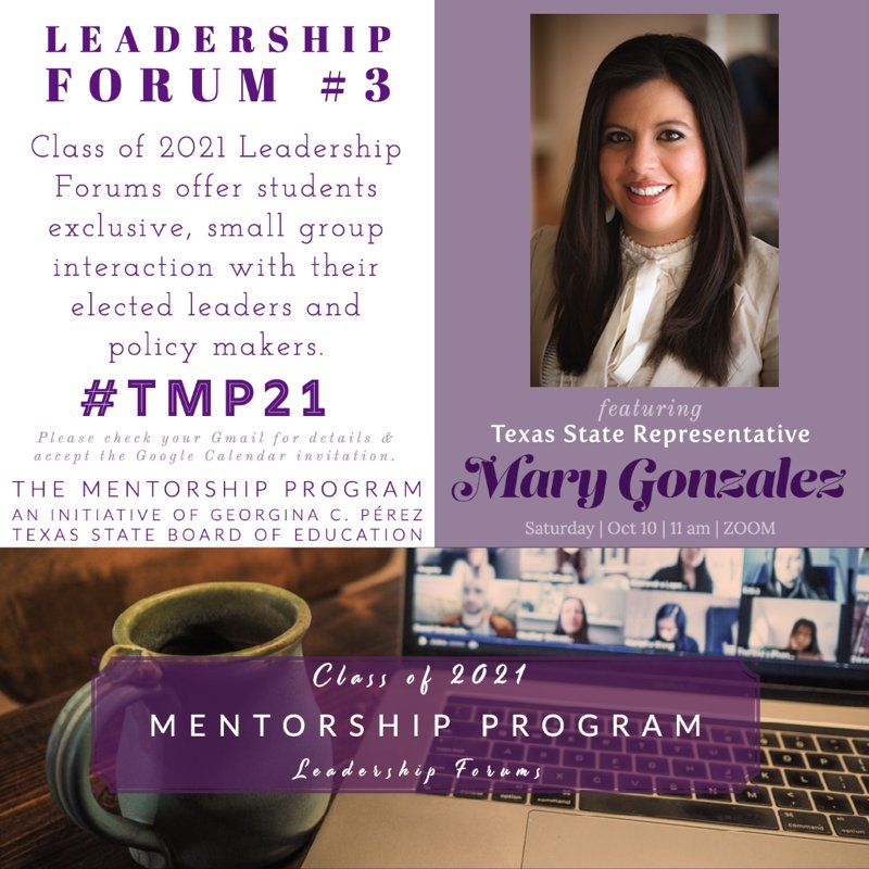 We are looking forward to our next forum! Next Saturday, October 11, our mentees will have the opportunity to speak with Texas State Representative Mary Gonzalez! Thank you Ms. Gonzalez for making the time to speak with and inspire our mentees!🎓 #TMP21 #CO21 #seniors https://t.co/c6pWCvZKiq