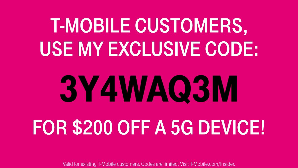 My first round of codes went so fast...This new code will let the next 100 @TMobile customers who are ready to upgrade save $200 on ANY new #5G device!  Just purchase & redeem at https://t.co/BtiHfLZ9fc but act quick, it expires soon! https://t.co/4a7nFkceVc