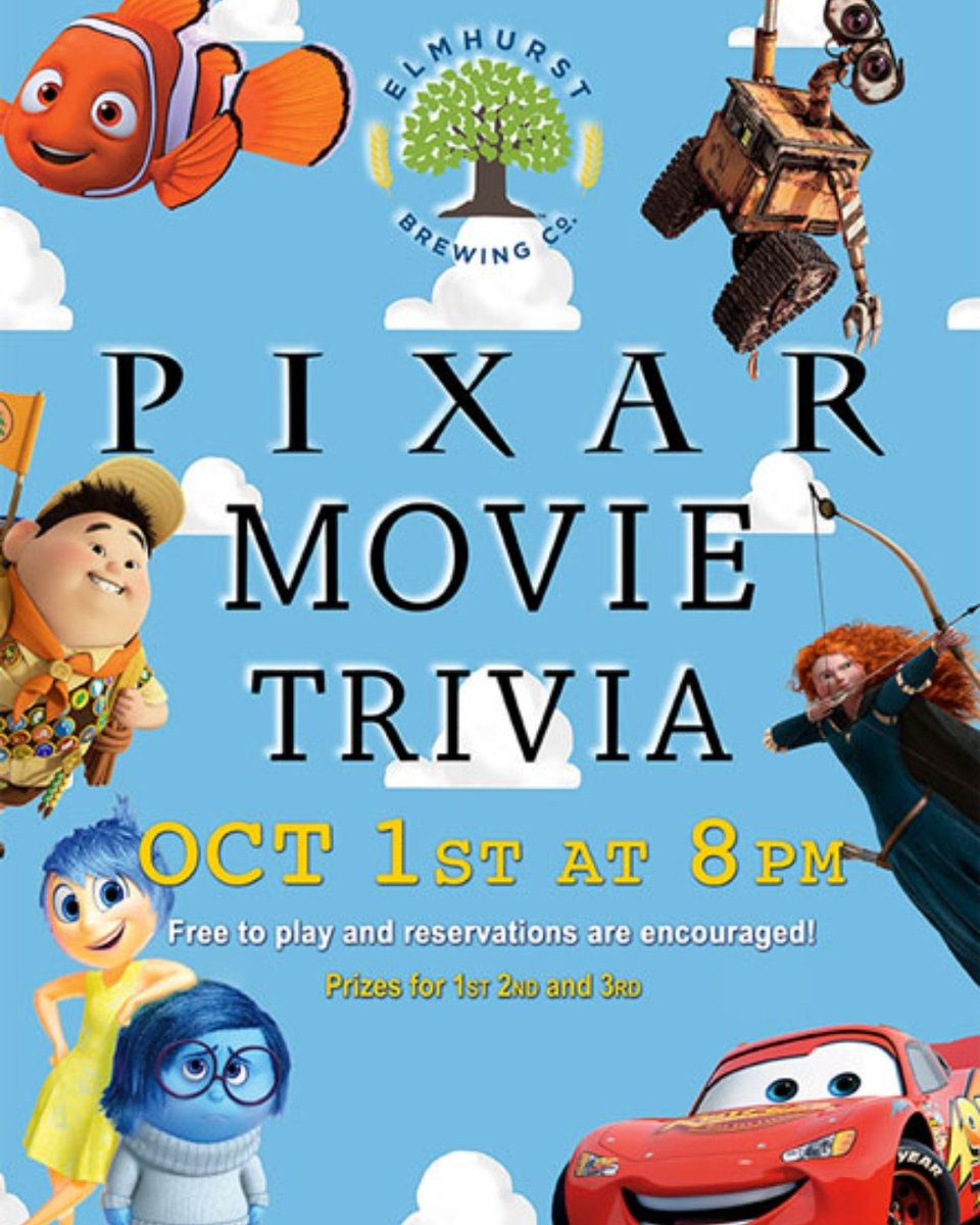 This Thursday, Baig of Tricks Entertainment is in the house with Pixar Movie Trivia!  Gather a team together and those who answer the most answers correctly, will win a sweet EBC prize!  To make a reservation, call (630)834-BREW(2739), Cheers! #ebc #ebctrivia #pixar https://t.co/krqD7JTs8S