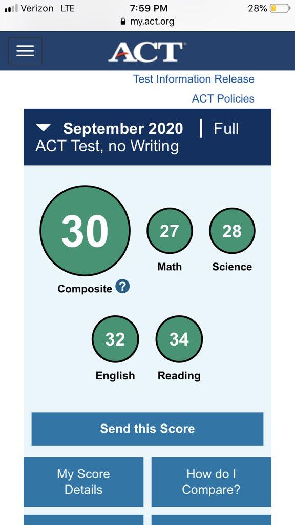 Just got my ACT scores back, in the 93rd percentile nationally! @RecruitGeorgia @ThePuntFactory @bigredfbrecruit @gainesvillefb @Mansell247 @CoachHeathWebb https://t.co/YFuQi7yzpj