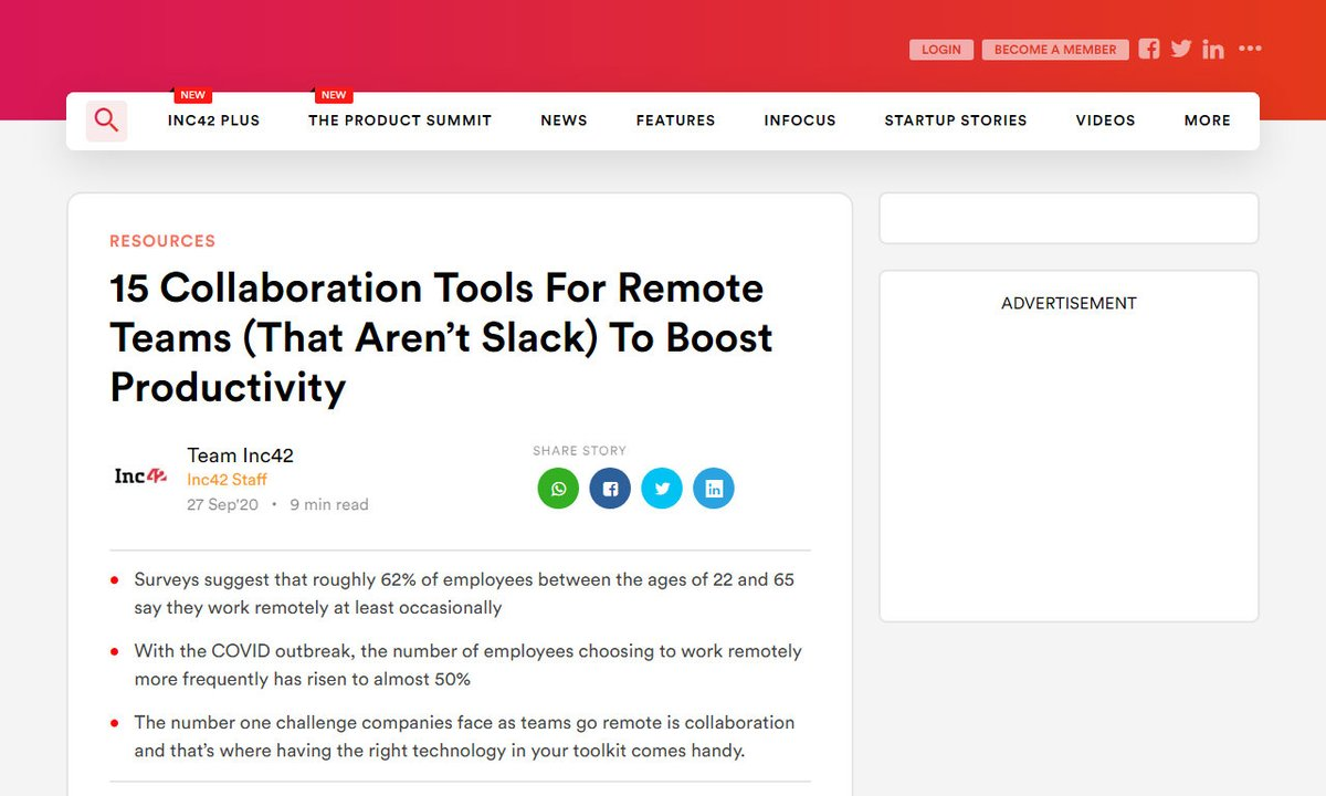 15 Collaboration Tools For Remote Teams (That Aren't Slack) To Boost Productivity - Inc42 Media #time #place #tools #employees #work #remotework via https://t.co/v36ZDygWM3 ☛ https://t.co/KrwAJwHJKx https://t.co/a1nCBmLQaG