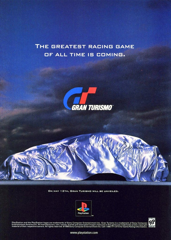 1998 print ad for Gran Turismo on the PlayStation.