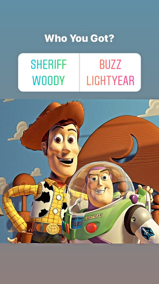 Pick one... Woody or Buzz!   #ToyStory #Disney #Pixar https://t.co/LBgKV6TWtn