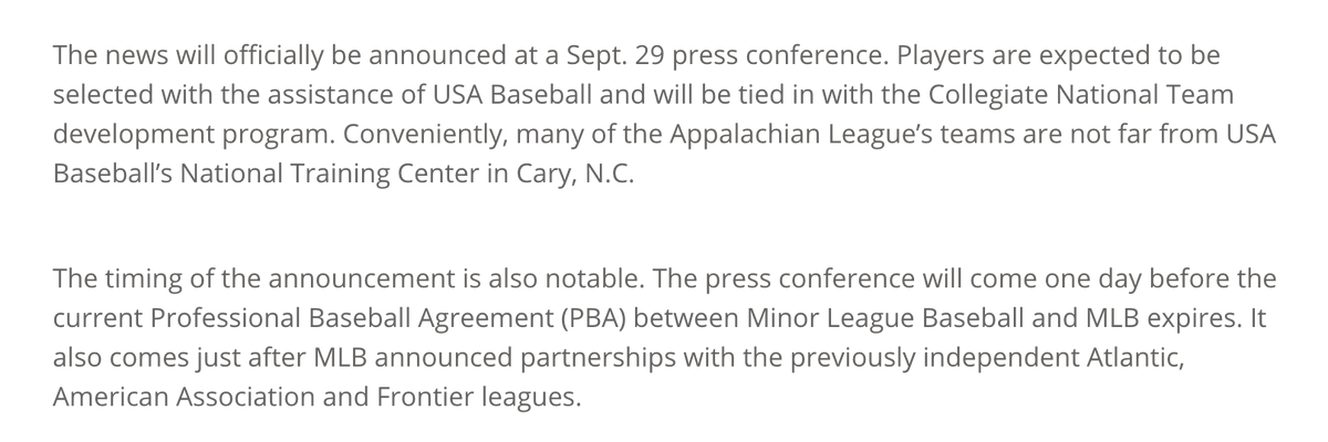 MLB will officially announce tomorrow that the Appalachian League will become a college wood-bat summer league.   Full story: https://t.co/HwEWudWpfN https://t.co/MJSkJrA6k5