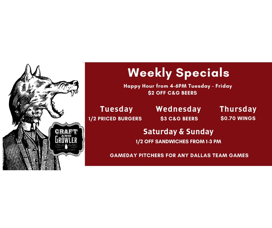 Hey Dallas! This will be our weekly specials going forward. Don't miss Wednesdays for $3 C&G Beers. #cheers #expopark https://t.co/XC9kuQp3mu