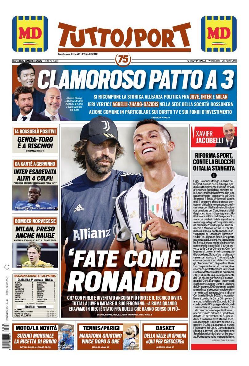 🇮🇹 Front page of #Tuttosport 📰 2020-09-29   #edicola #primapagina #Juventus #Inter #Milan #Roma #Napoli #Lazio https://t.co/O25E5ZeyFq