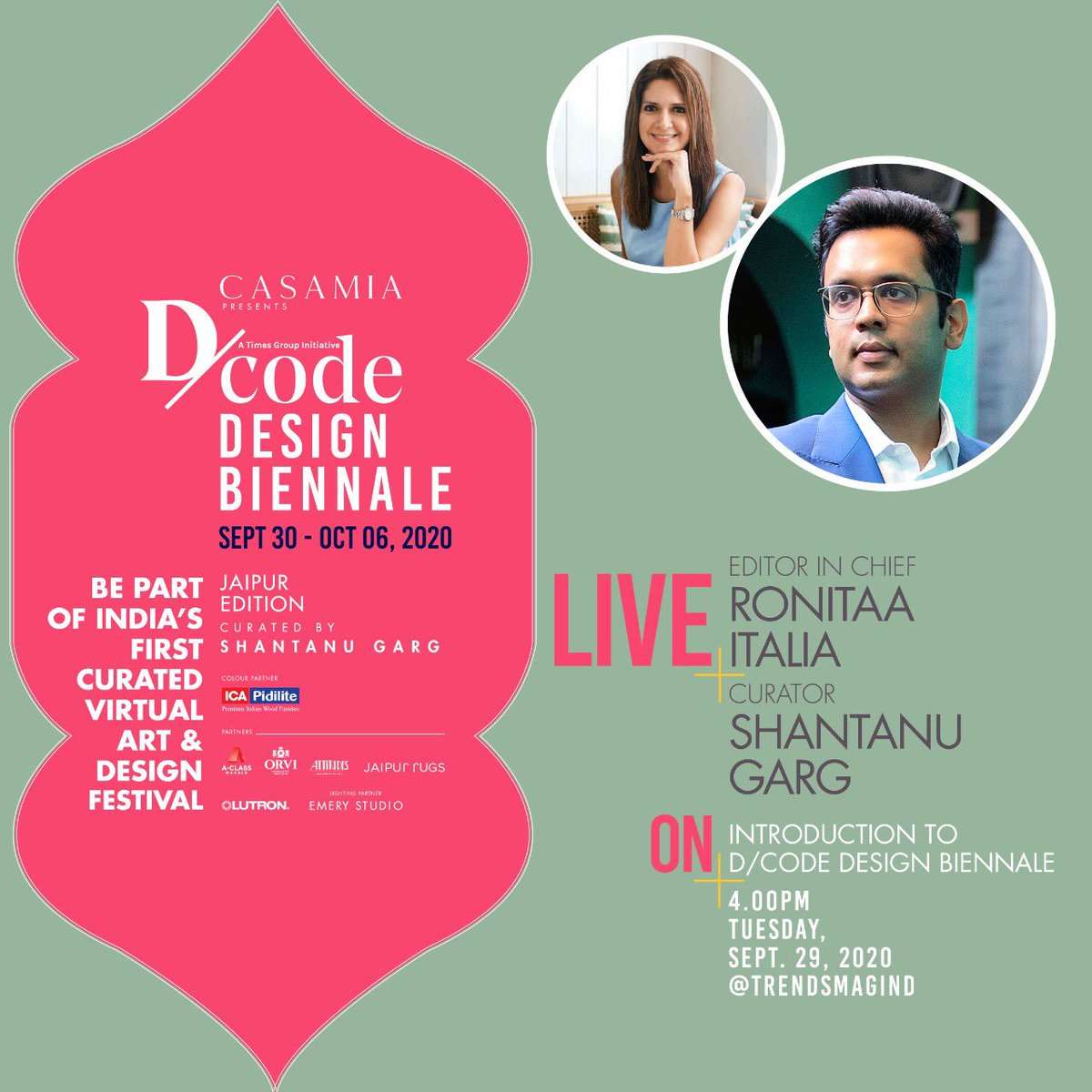 Giving us a glimpse into India's first virtual art & design festival are Editor-in-Chief Ronitaa Italia and curator Shantanu Garg in a fun engaging live chat.  Catch them live today at 4pm only at @trendsmagind Instagram https://t.co/K2u9KAsbFN