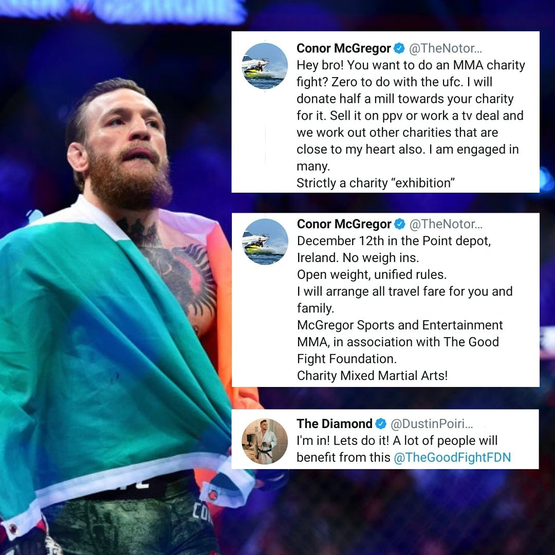 .@DustinPoirier just agreed to fight @TheNotoriousMMA in an exhibition fight for charity on December 12th! 👀  📷 @GettyImages https://t.co/vxSHUTJNNw
