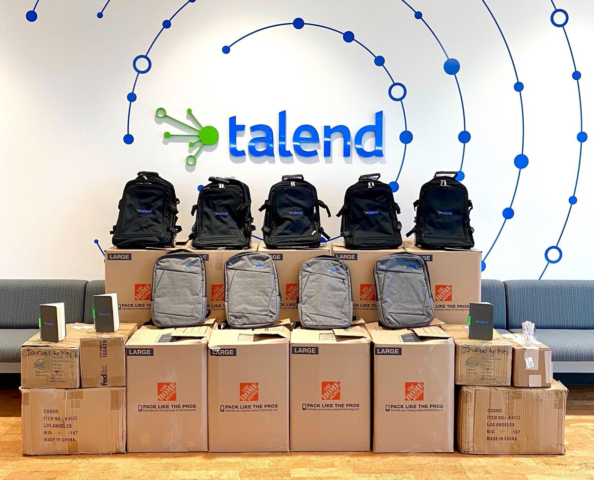 An extra thank you to our #TA, #Marketing, and #Sales teams for adding some #swag to #TalendGives! 👏 Your team spirit provided an additional 15 boxes filled with backpacks, notebooks and pens to help! 😍  #teamtalend #giving #community #education #students @KidsInNeed @S2Fonline https://t.co/asQEZEjKKp