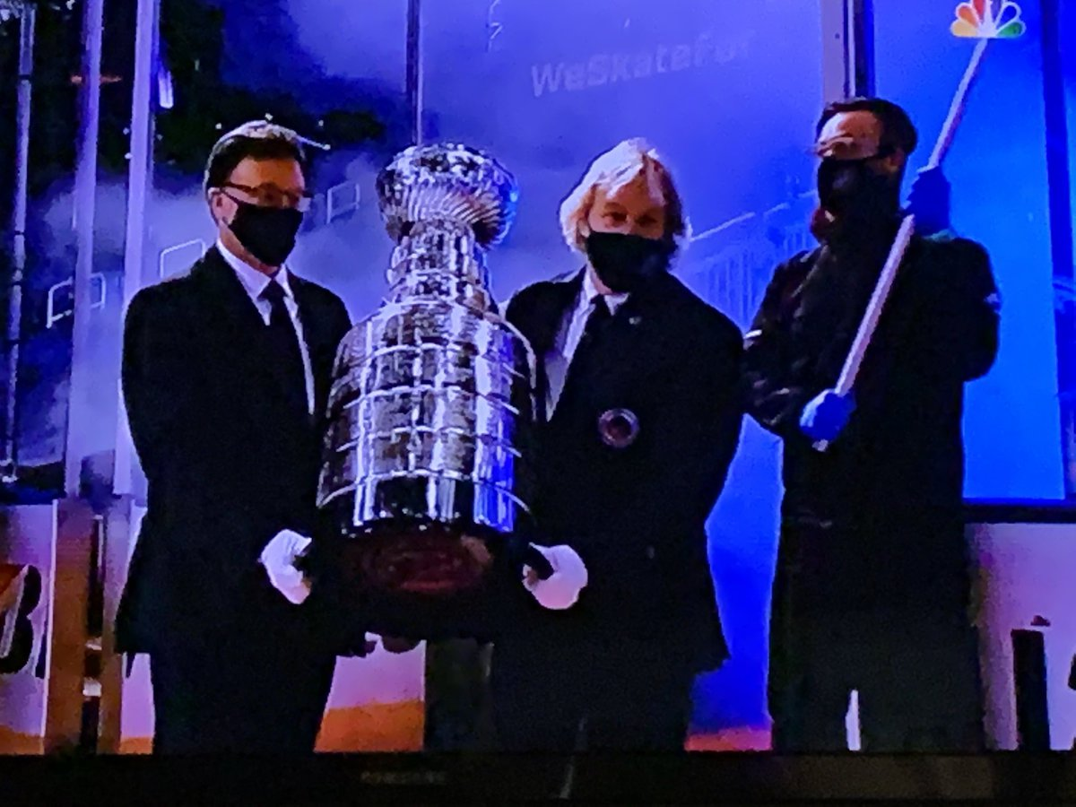 Pretty sweet of the NHL to get Owen Wilson, Stephen Colbert, and a guy from ISIS to help out w the Cup.