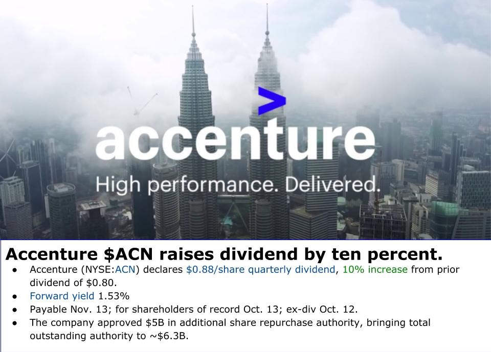 Accenture $ACN announced a 10% increase to its quarterly dividend, from $0.80 to $0.88 per share.  According to the CCC List, this makes sixteen years of dividend growth for the company, with 14.8% annualized growth over the last decade.  #dividends #DGI #stocks https://t.co/15lKH6MGQS