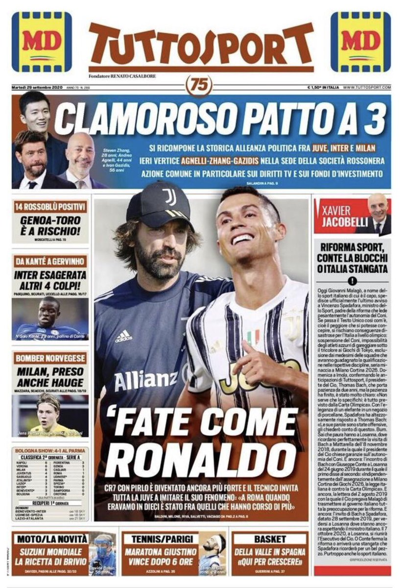 Prima pagina #Tuttosport https://t.co/7cBBAJh1zn