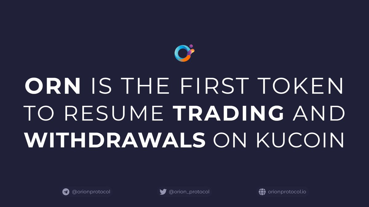 $ORN is the first token to open withdrawals on @kucoincom.  Following the #KuCoinHack, Orion Protocol reissued ORN tokens via a token swap. We are pleased to announce that trading + withdrawals are now open. Deposits will resume shortly.  Learn more: https://t.co/SwcofPkfrz https://t.co/kZBENneJVf