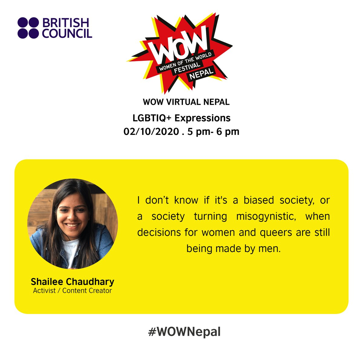 Shailee Chaudhary is an activist and a content creator. On 2 October, she will be talking about her life as a queer person in #Madhesh. Join her LIVE on our Facebook! https://t.co/tP5Cx1EQ7j #WOWNepal #LGBTIQ https://t.co/VzPLj5xnOt
