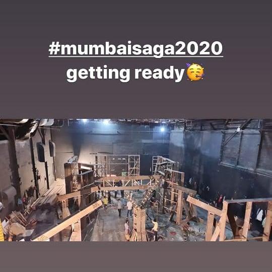 The set of #mumbaisaga getting ready 😍😍   Rage waiting for this epic ❤️ @TheJohnAbraham @emraanhashmi @apnabhidu @prateikbabbar @rohitroy500 @SunielVShetty #AmoleGupte @GulshanGroverGG @_SanjayGupta @TSeries @Nadeem_Shah