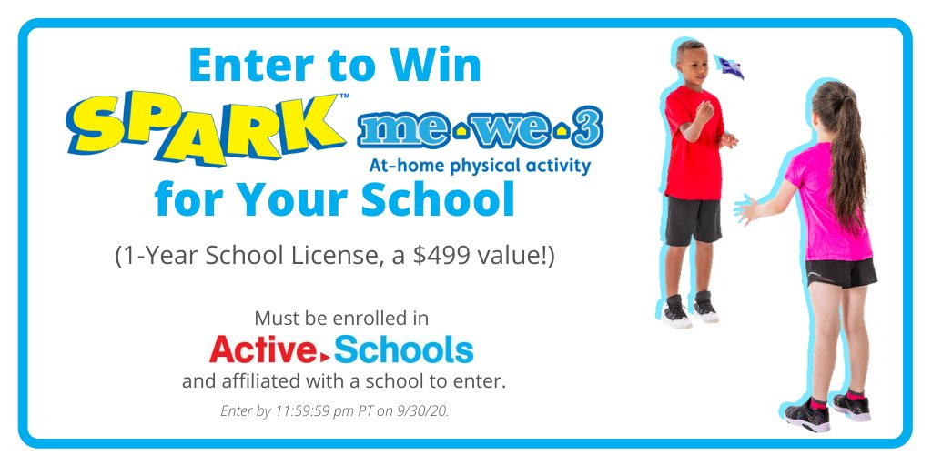 Tomorrow is the last day to enter our giveaway for a 1-year license for our new at-home physical activity program, SPARK me·we·3. #PhysEd @ActiveSchoolsUS   Enter Your School 👉 https://t.co/6UzO0Y8UNe https://t.co/Mg8L8XctSH