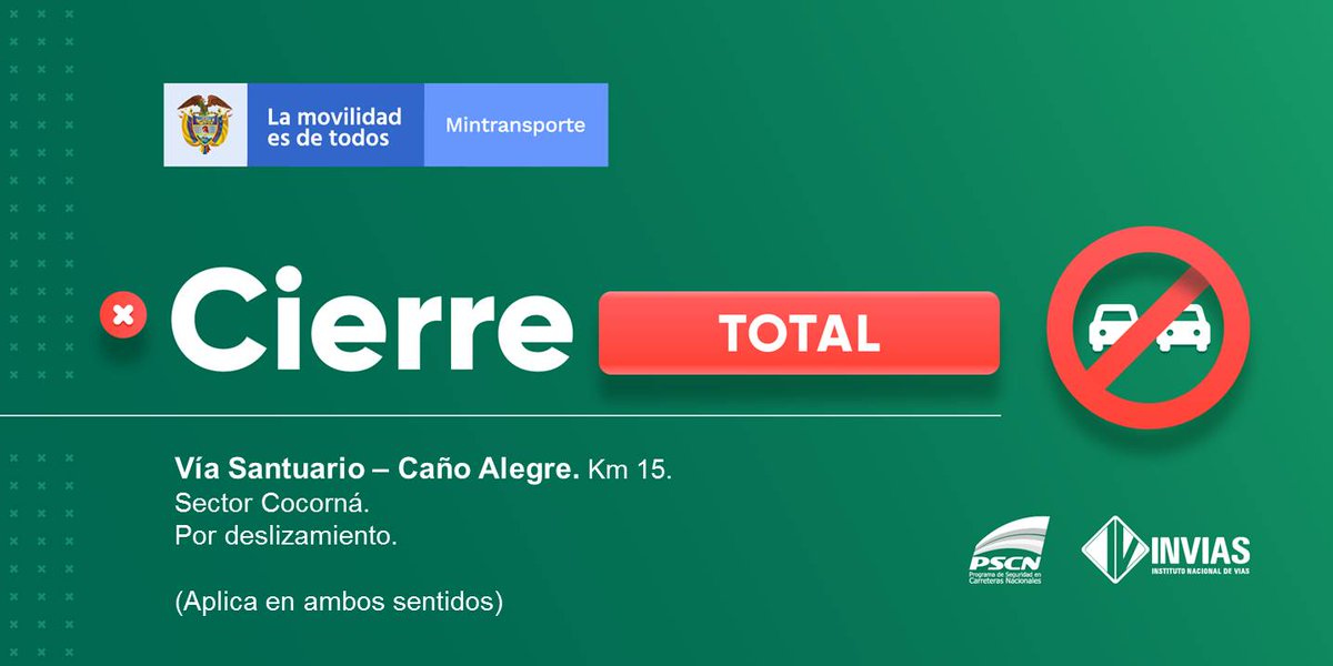 ¡Buenos días!  #NovedadVial Departamento de #Antioquia se presenta cierre total sector Cocorná.  #EnDesarrollo   Trabajamos para mantenerte informado. https://t.co/wrPcQzoVym