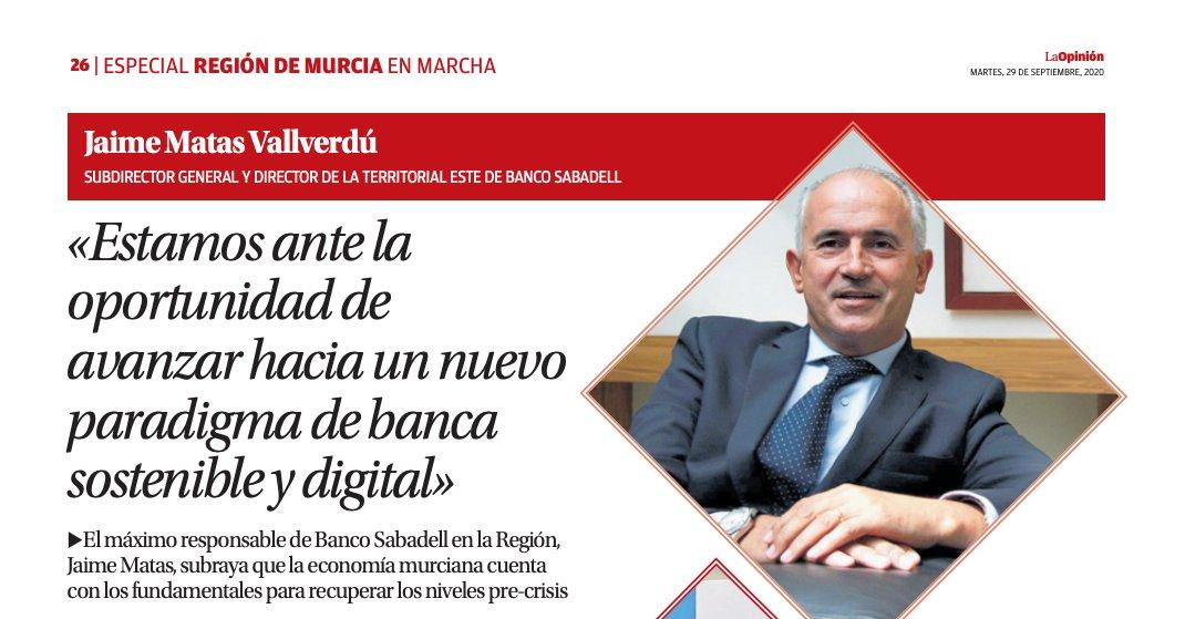 """Jaime Matas, dir. gral adjunto y dir Territorial Este de @BancoSabadell : """"Estamos ante la oportunidad de avanzar hacia un nuevo paradigma de banca sostenible y digital"""" https://t.co/w61r6uyx9e vía @diariolaopinion  #EstarDondeEstés https://t.co/Ktgk03X8yO"""