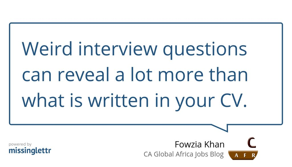 Here are 15 weird interview questions a potential employer may ask you in your next interview  Read the full article: 15 Weird Interview Questions ▸ https://t.co/ykhibwB9Ge   #InterviewTips #AfricaJobs #CriticalThinkingProcess #StandardInterviewQuestions #FunnyInterviewQuestions https://t.co/EG85v8uSAD