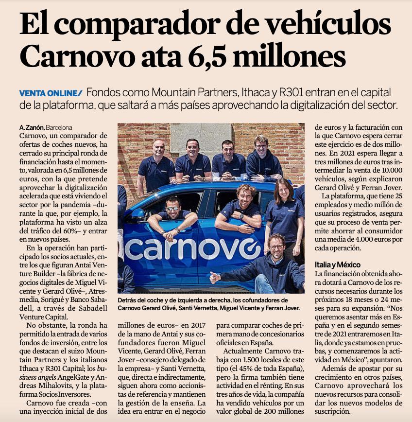 El comparador de vehículos @carnovo, #startup participada por @BancoSabadell a través de @BStartup y #SabadellVentureCapital, cierra una ronda de financiación de 6,5 millones. La plataforma pretende saltar a más países aprovechando la digitalización del sector vía @expansioncom https://t.co/5wR9Hi6Dqr