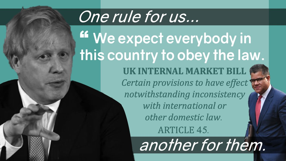 Hypocrisy is back in the House of Commons today, otherwise known as #InternalMarketBill, a law to enable Govt to break international & DOMESTIC law.  REMINDER: NONE of the reasons Govt ministers have given for #UKIM Bill are reflected in the text of the Bill itself. #RuleOfLaw https://t.co/EAeRaAYlpl