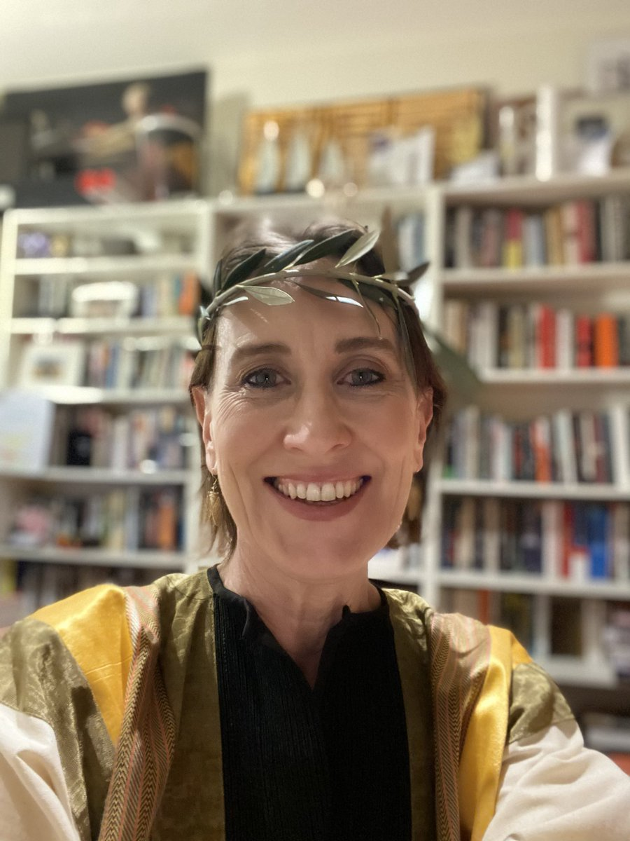 About to go live - with olive wreath - for @RomePodcast tonight at 6.30pm with @nightlightguy and @DrRhiannonEvans . Hail Caesar! https://t.co/SSBIl5A1FO