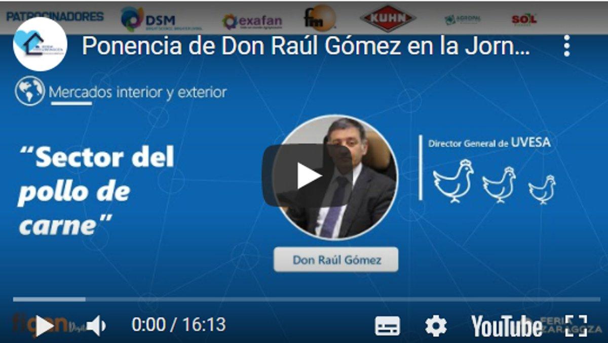 """4ª ponencia de D. Raúl Gómez, Director General de @Grupo_Uvesa en la Jornada Técnica Online """"Perspectiva de los mercados pecuarios 2020-21"""" 👉 https://t.co/W4e7J9ZTPh ;actualidad y previsión de la evolución del POLLO DE CARNE. #figan2021. @feriadezaragoza https://t.co/s7SuRhZS9V"""