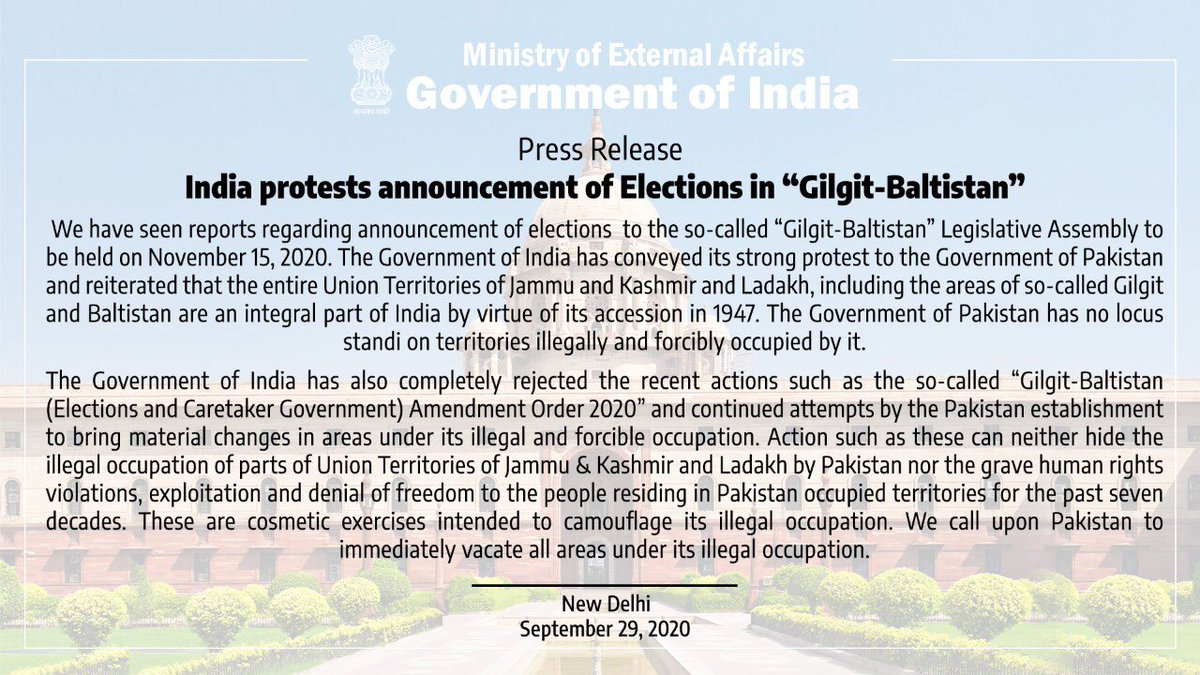"""India protests announcement of elections in so-called """"Gilgit - Baltistan"""".   Read our press release https://t.co/iwHmZg66wx https://t.co/ZI9OZQagnV"""