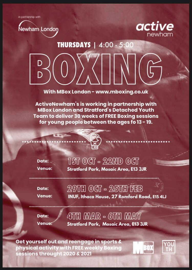 🥊 #YouthBoxing 🥊  Thursday afternoons from 1st Oct - 5th May (4:00 - 5:00pm) Boxing with @mboxlondon   Free for Young People in #Newham between 13 - 19 with support from Stratford's #YouthEmpowerment Team  #YouthBoxing #NewhamYouth #MBox https://t.co/1fix9Uh9wC