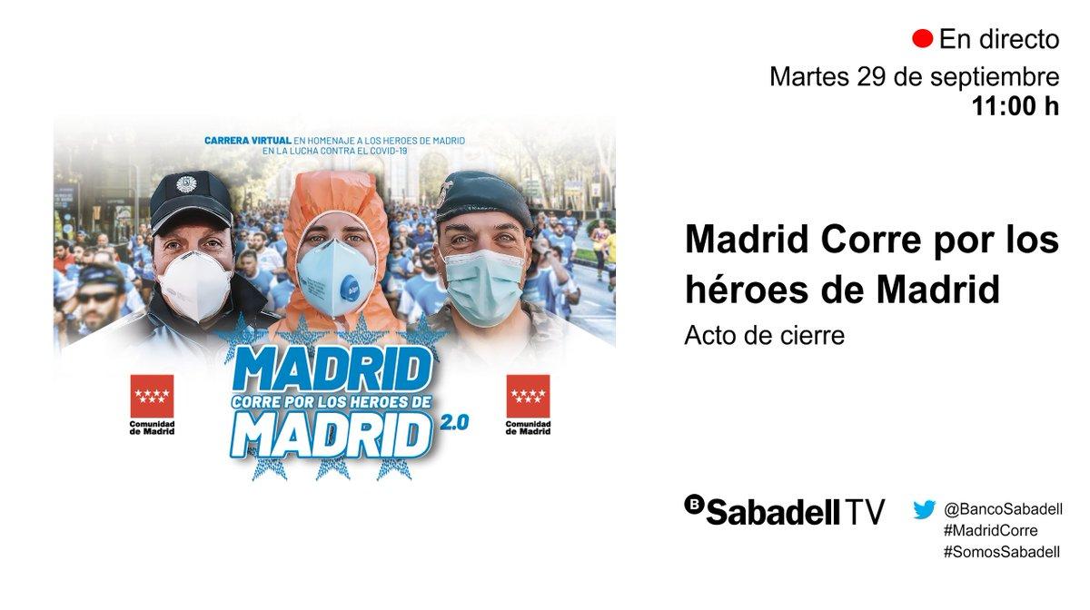 #MadridCorre | Sigue #endirecto el acto de cierre de la carrera '@MadridCorre por los héroes de #Madrid 2.0' que ha contado con el apoyo de @BancoSabadell 🔴 https://t.co/DIoOansVk9 #SomosSabadell cc @MadridxDeporte @Grupo_Envera_ @AD_MAPOMA @cfisiomad @deportecmadrid https://t.co/Kk5WEdRWEy