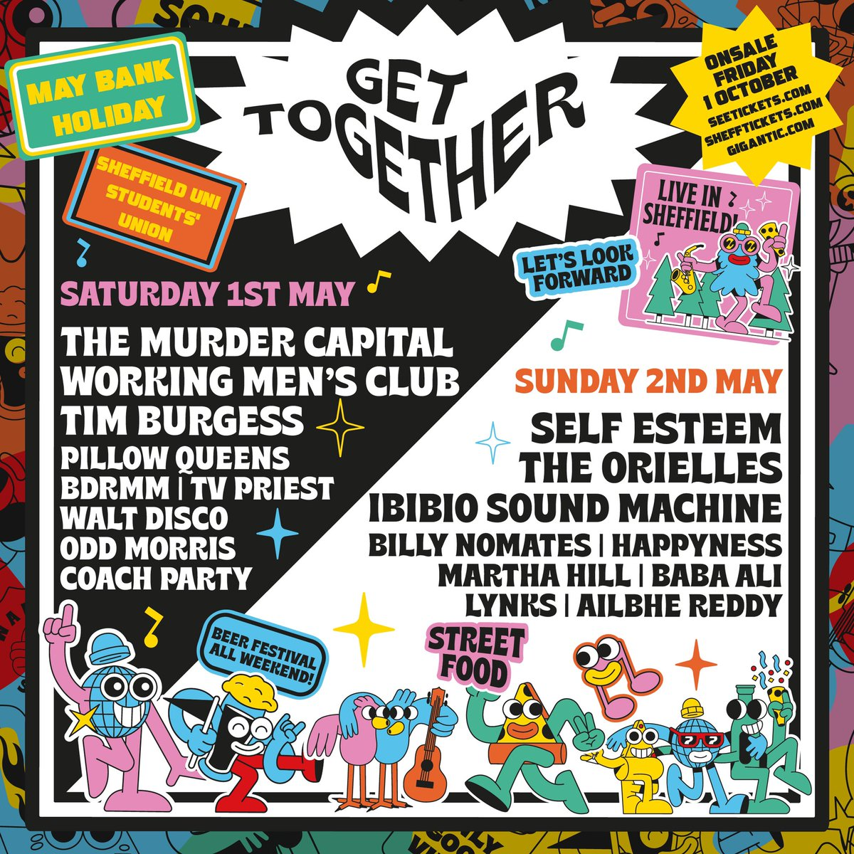 Looking forward to playing @gettogetherfest in Sheffield next year. Ace line up with @MurderCapital_ @work1ngmensclub @smellybdrmm @TheOrielles @SELFESTEEM___ @IbibioSound & more. Pre-sale Thurs 10am. General sale 10am Friday seetickets.com/register/previ…