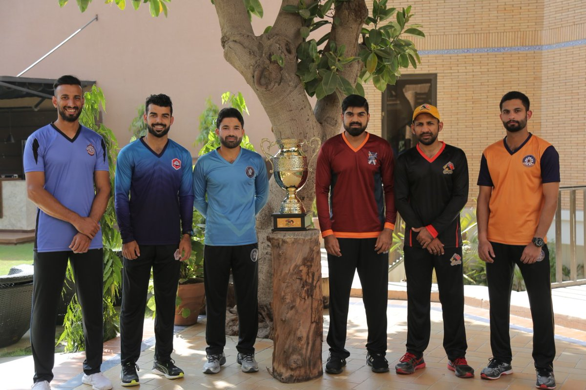 #NationalT20Cup 2020 trophy unveiled by six captains at Multan Cricket Stadium.  PC: PCB  #Cricket #Pakistan #ShanMasood #ShadabKhan #MohammadRizwan #HarisSohail #SarfarazAhmed #SaadNasim #PCB #Multan https://t.co/2iz1mRqBpf