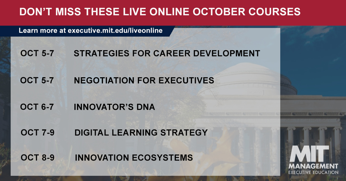 There's still time to register for our next round of live online courses. The first week of October is packed with topics on everything from #CareerDevelopment to #CorporateInnovation to #DigitalLearningStrategy - Save your seat and learn more here: https://t.co/ovtQMxgK5H https://t.co/wIXuY83dCL