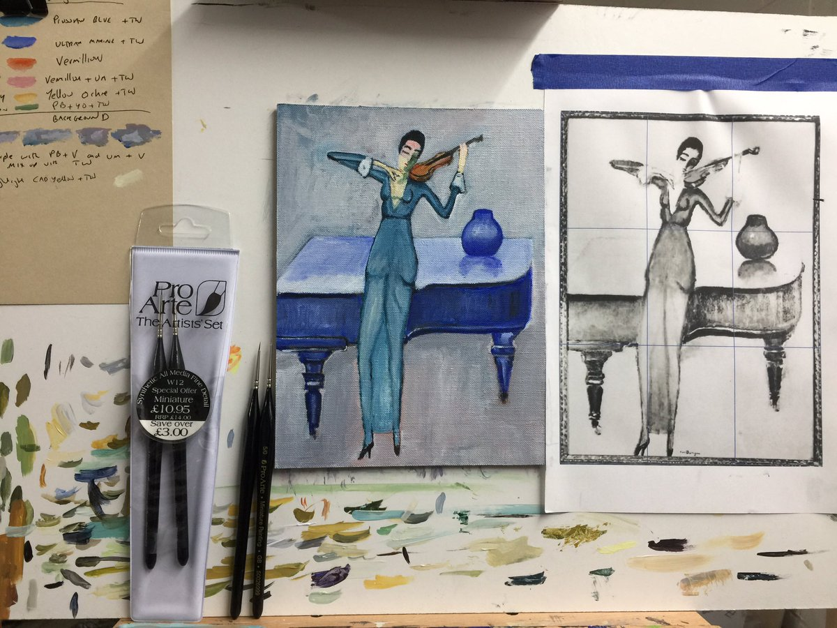 Further progress on my #keesvandongen copy of the violinist. I am finding the #proarte miniature brushes to be extremely useful especially the 5' brush . #ampainting #paintinginprogress #wipart