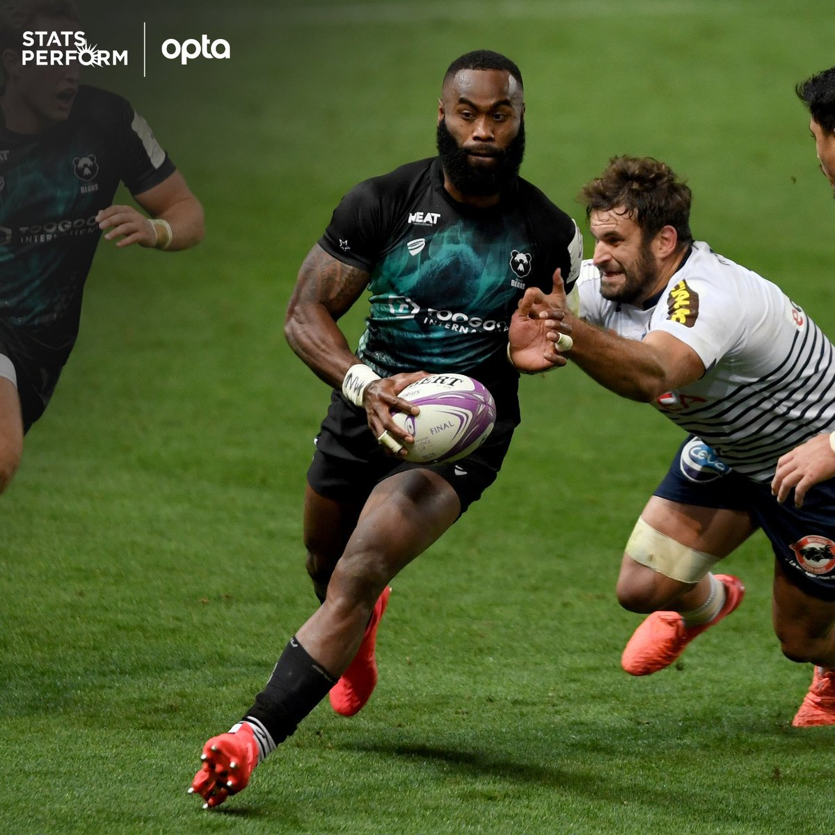71 - Semi Radradra has made 71 carries in the @ERChallengeCup this season, the most of any back, including a competition-high 32 in the knockout stages; he's also assisted 5 tries, the most of any non-half back and the second most of any player overall (B Serin - 7). Recognition. https://t.co/3bgzPDu3gd