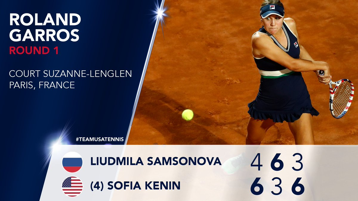 Battling to Round 2 👊  Sofia Kenin finishes strong in her opening match at #RolandGarros.   #TeamUSATennis https://t.co/MoqGg7V5r0